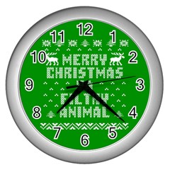 Ugly Christmas Ya Filthy Animal Wall Clocks (silver)  by Onesevenart