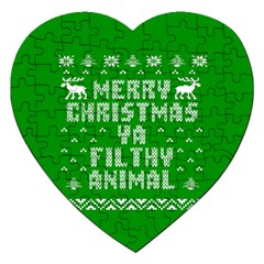 Ugly Christmas Ya Filthy Animal Jigsaw Puzzle (heart) by Onesevenart