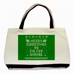 Ugly Christmas Ya Filthy Animal Basic Tote Bag by Onesevenart