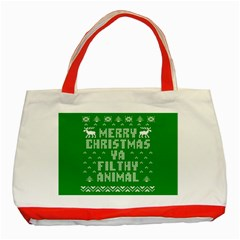 Ugly Christmas Ya Filthy Animal Classic Tote Bag (red) by Onesevenart