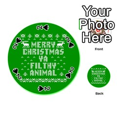Ugly Christmas Ya Filthy Animal Playing Cards 54 (round)  by Onesevenart