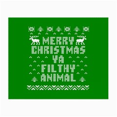 Ugly Christmas Ya Filthy Animal Small Glasses Cloth (2 Side) by Onesevenart