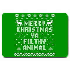 Ugly Christmas Ya Filthy Animal Large Doormat  by Onesevenart