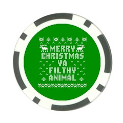 Ugly Christmas Ya Filthy Animal Poker Chip Card Guards by Onesevenart