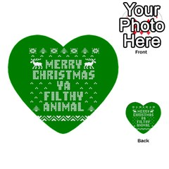 Ugly Christmas Ya Filthy Animal Multi Purpose Cards (heart)  by Onesevenart