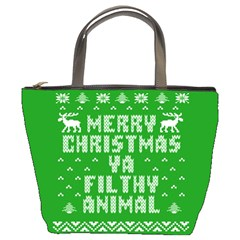 Ugly Christmas Ya Filthy Animal Bucket Bags by Onesevenart