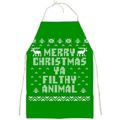 Ugly Christmas Ya Filthy Animal Full Print Aprons by Onesevenart