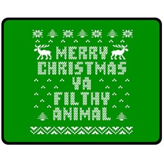 Ugly Christmas Ya Filthy Animal Fleece Blanket (medium)  by Onesevenart