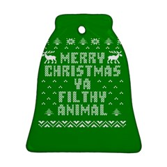 Ugly Christmas Ya Filthy Animal Ornament (bell)  by Onesevenart