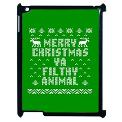 Ugly Christmas Ya Filthy Animal Apple Ipad 2 Case (black) by Onesevenart