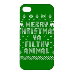 Ugly Christmas Ya Filthy Animal Apple Iphone 4/4s Hardshell Case by Onesevenart