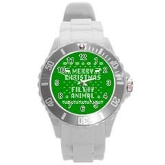 Ugly Christmas Ya Filthy Animal Round Plastic Sport Watch (l) by Onesevenart
