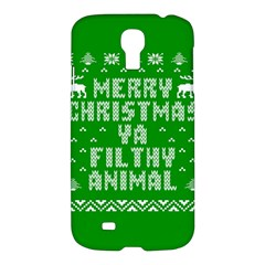 Ugly Christmas Ya Filthy Animal Samsung Galaxy S4 I9500/i9505 Hardshell Case by Onesevenart