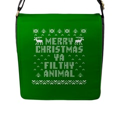 Ugly Christmas Ya Filthy Animal Flap Messenger Bag (l)  by Onesevenart