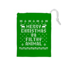 Ugly Christmas Ya Filthy Animal Drawstring Pouches (medium)  by Onesevenart
