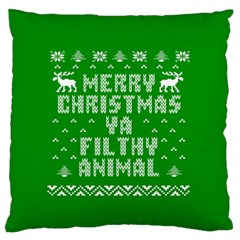 Ugly Christmas Ya Filthy Animal Large Flano Cushion Case (two Sides) by Onesevenart