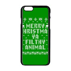 Ugly Christmas Ya Filthy Animal Apple Iphone 6/6s Black Enamel Case by Onesevenart