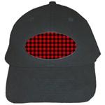 Lumberjack Plaid Fabric Pattern Red Black Black Cap Front