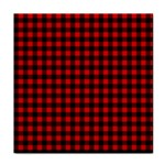 Lumberjack Plaid Fabric Pattern Red Black Tile Coasters Front