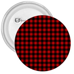 Lumberjack Plaid Fabric Pattern Red Black 3  Buttons by EDDArt