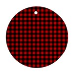 Lumberjack Plaid Fabric Pattern Red Black Ornament (Round)  Front