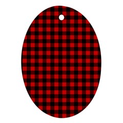 Lumberjack Plaid Fabric Pattern Red Black Ornament (oval)  by EDDArt