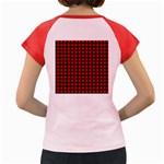 Lumberjack Plaid Fabric Pattern Red Black Women s Cap Sleeve T-Shirt Back