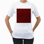 Lumberjack Plaid Fabric Pattern Red Black Women s T-Shirt (White) (Two Sided) Front