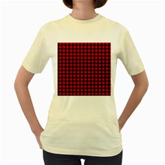 Lumberjack Plaid Fabric Pattern Red Black Women s Yellow T Shirt