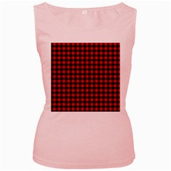Lumberjack Plaid Fabric Pattern Red Black Women s Pink Tank Top