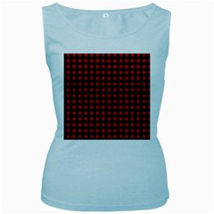 Lumberjack Plaid Fabric Pattern Red Black Women s Baby Blue Tank Top
