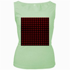 Lumberjack Plaid Fabric Pattern Red Black Women s Green Tank Top