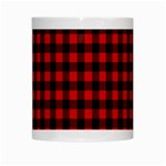 Lumberjack Plaid Fabric Pattern Red Black White Mugs Center