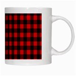 Lumberjack Plaid Fabric Pattern Red Black White Mugs Right