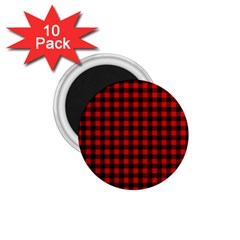 Lumberjack Plaid Fabric Pattern Red Black 1 75  Magnets (10 Pack)