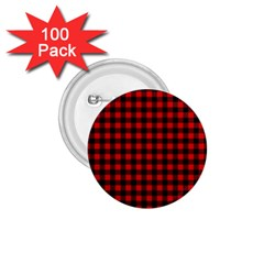 Lumberjack Plaid Fabric Pattern Red Black 1 75  Buttons (100 Pack)  by EDDArt