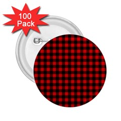 Lumberjack Plaid Fabric Pattern Red Black 2 25  Buttons (100 Pack)