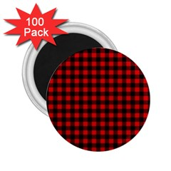 Lumberjack Plaid Fabric Pattern Red Black 2 25  Magnets (100 Pack)