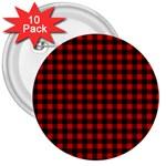 Lumberjack Plaid Fabric Pattern Red Black 3  Buttons (10 pack)