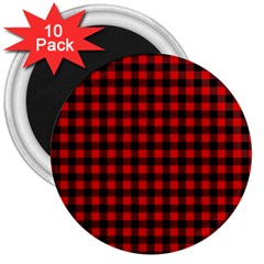 Lumberjack Plaid Fabric Pattern Red Black 3  Magnets (10 Pack)  by EDDArt
