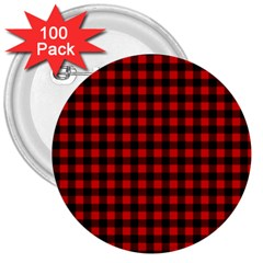 Lumberjack Plaid Fabric Pattern Red Black 3  Buttons (100 Pack)  by EDDArt