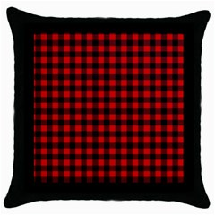 Lumberjack Plaid Fabric Pattern Red Black Throw Pillow Case (black) by EDDArt