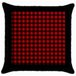 Lumberjack Plaid Fabric Pattern Red Black Throw Pillow Case (Black) Front