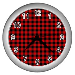 Lumberjack Plaid Fabric Pattern Red Black Wall Clocks (silver)
