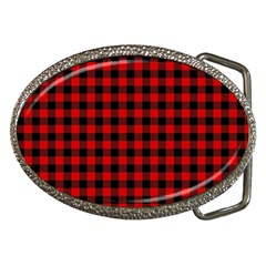 Lumberjack Plaid Fabric Pattern Red Black Belt Buckles