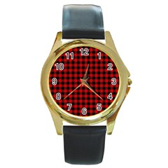Lumberjack Plaid Fabric Pattern Red Black Round Gold Metal Watch