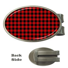 Lumberjack Plaid Fabric Pattern Red Black Money Clips (oval)  by EDDArt