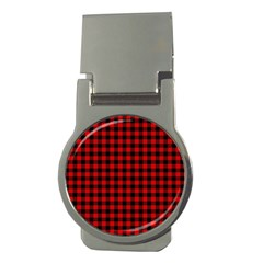 Lumberjack Plaid Fabric Pattern Red Black Money Clips (round)  by EDDArt