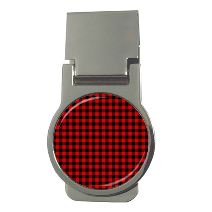 Lumberjack Plaid Fabric Pattern Red Black Money Clips (Round)
