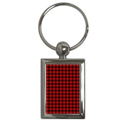 Lumberjack Plaid Fabric Pattern Red Black Key Chains (rectangle)  by EDDArt